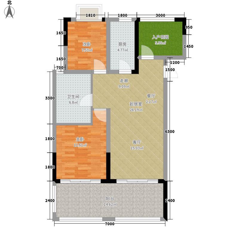 首创·湖畔思香小镇95.00㎡D小高层户型2室2厅