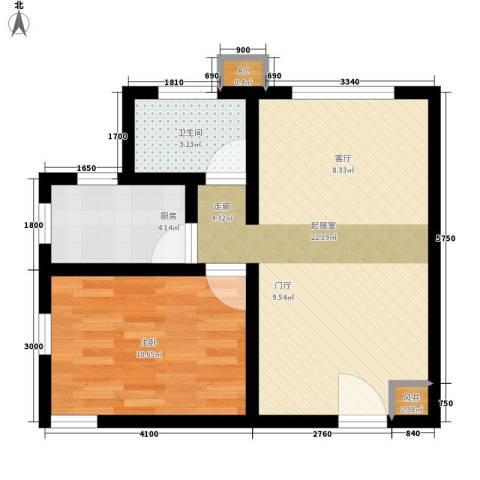 翡翠城1室0厅1卫1厨60.00㎡户型图