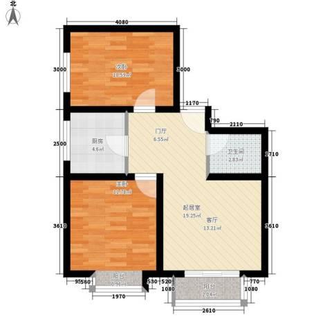 翡翠城2室0厅1卫1厨76.00㎡户型图