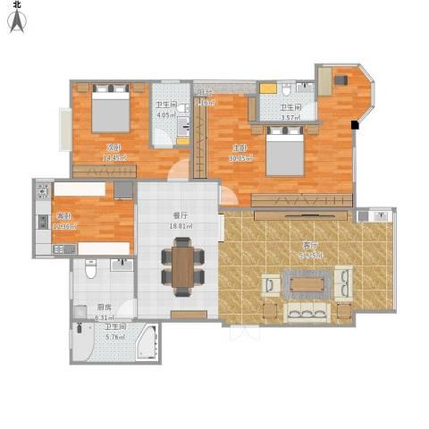美中城3室1厅3卫1厨170.00㎡户型图