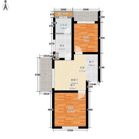盛世康城2室1厅1卫1厨64.00㎡户型图