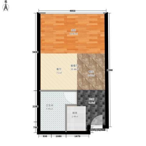锦源国际公寓1厅1卫0厨43.00㎡户型图