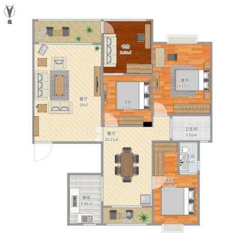 西子山庄4室2厅2卫1厨133.00㎡户型图