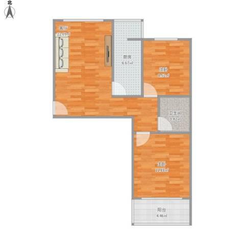 名仕公馆2室1厅1卫1厨77.00㎡户型图