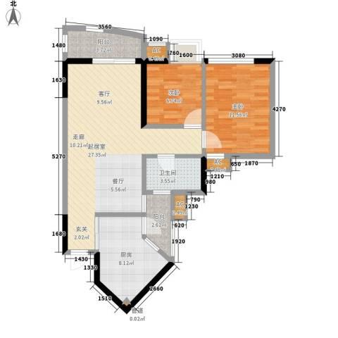 恒荔湾畔2室0厅1卫1厨76.00㎡户型图