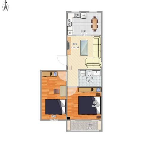 阳光新城2室1厅1卫1厨54.38㎡户型图