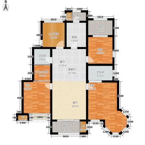 金科廊桥水岸3室1厅2卫1厨155.00㎡户型图