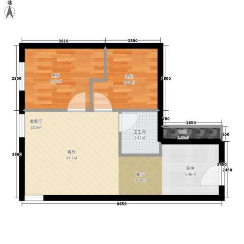 昊天2室1厅1卫0厨62.00㎡户型图