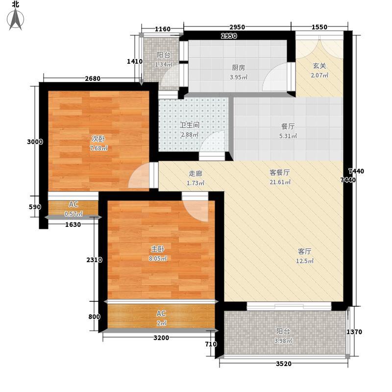 海韵阳光城66.34㎡B-3  户型2室2厅