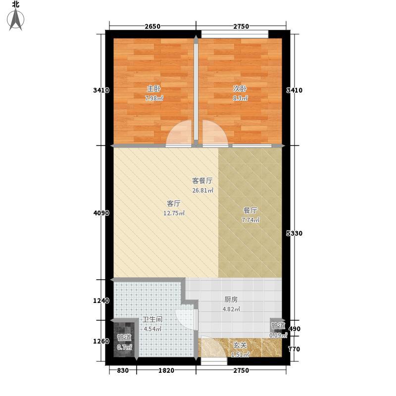 昊天75.25㎡1栋27层朝北4号户型