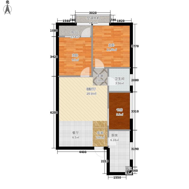 昊天111.27㎡1栋27层朝北1号户型