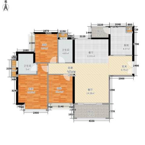 东风广场3室0厅2卫1厨120.00㎡户型图