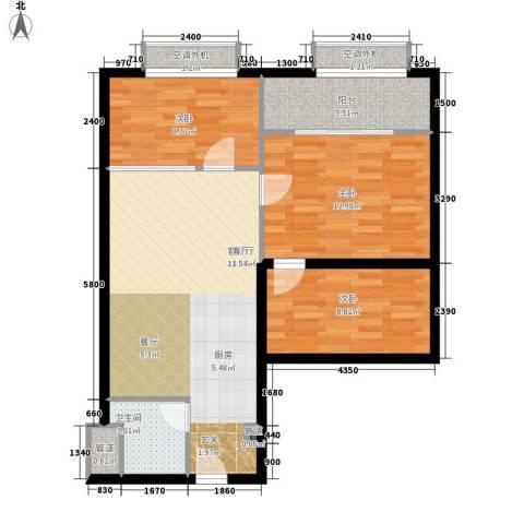 昊天3室1厅1卫0厨92.00㎡户型图