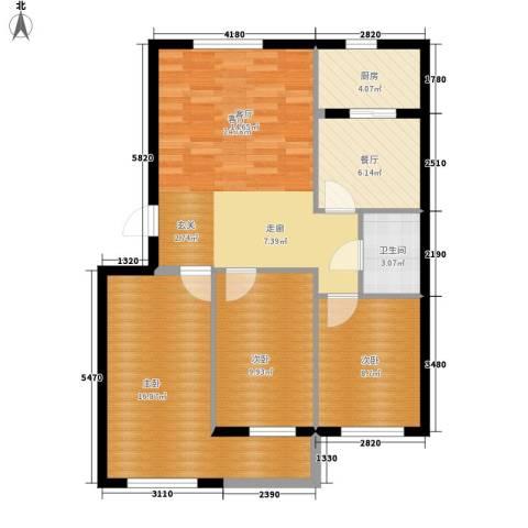 纺织城节约坊3室2厅1卫1厨119.00㎡户型图