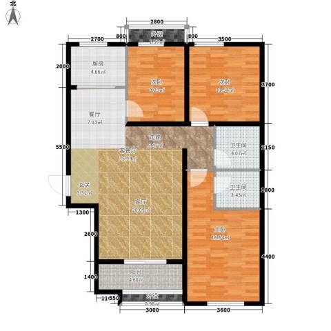 翟营水晶园3室1厅2卫1厨128.00㎡户型图