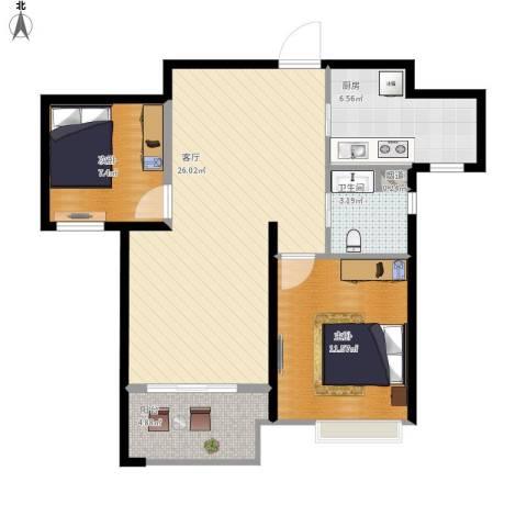新城域花园2室1厅1卫1厨84.00㎡户型图