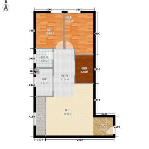 昊天3室1厅1卫1厨111.00㎡户型图