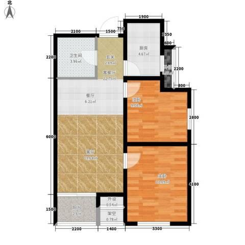 翟营水晶园2室1厅1卫1厨80.00㎡户型图