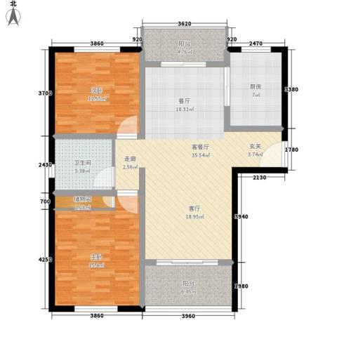 美兰金色宝邸2室1厅1卫1厨101.00㎡户型图