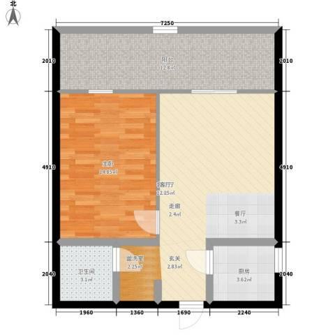 兴威新嘉园1室1厅1卫1厨81.00㎡户型图