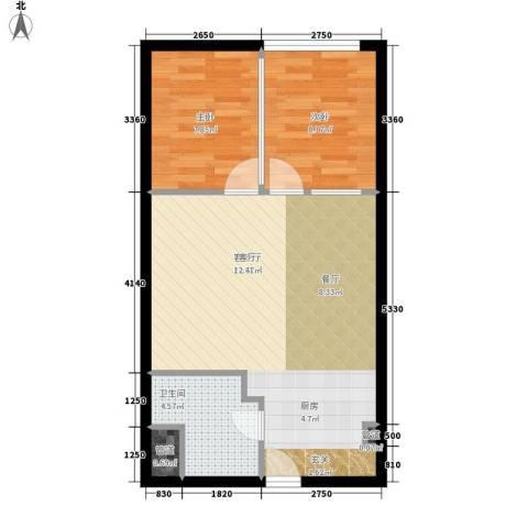 昊天2室1厅1卫0厨75.00㎡户型图