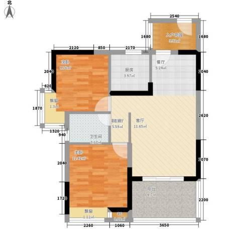 金凯盛誉城2室1厅1卫1厨89.00㎡户型图