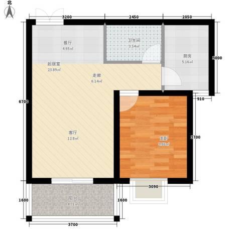 西部枫景傲城1室0厅1卫1厨68.00㎡户型图
