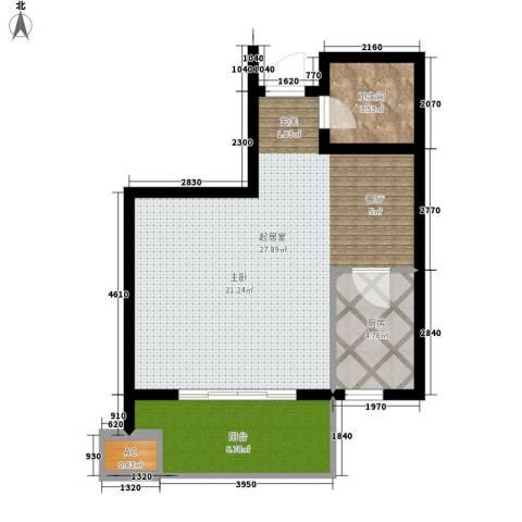鼎新公寓1卫1厨50.00㎡户型图