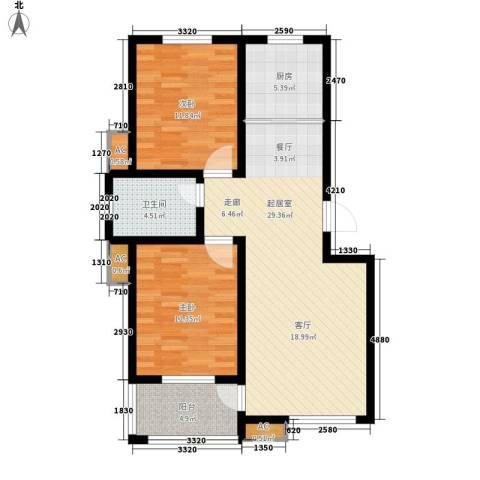 盛世康城2室0厅1卫1厨81.00㎡户型图