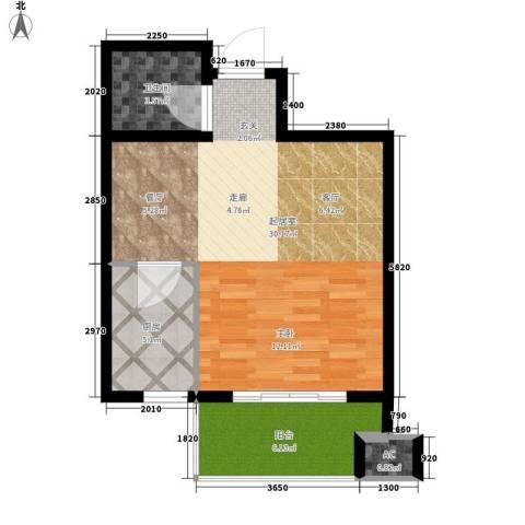 鼎新公寓1卫1厨52.00㎡户型图
