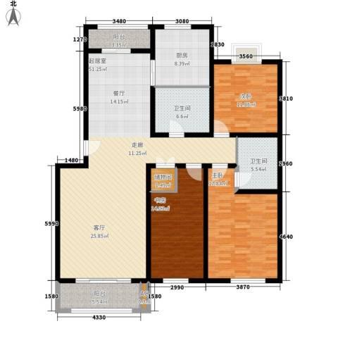 保利花园3室0厅2卫1厨145.00㎡户型图
