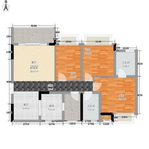 向阳小区3室0厅2卫1厨119.00㎡户型图