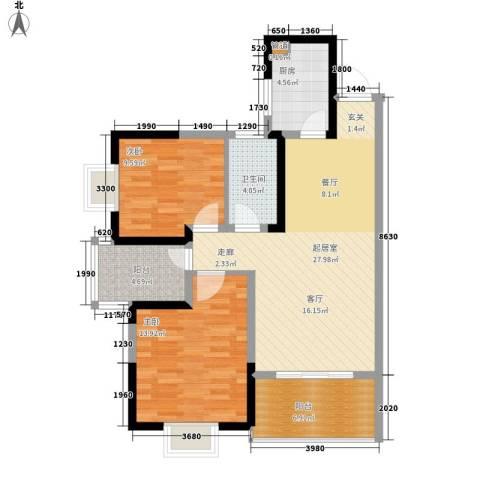 鑫天山城明珠2室0厅1卫1厨104.00㎡户型图