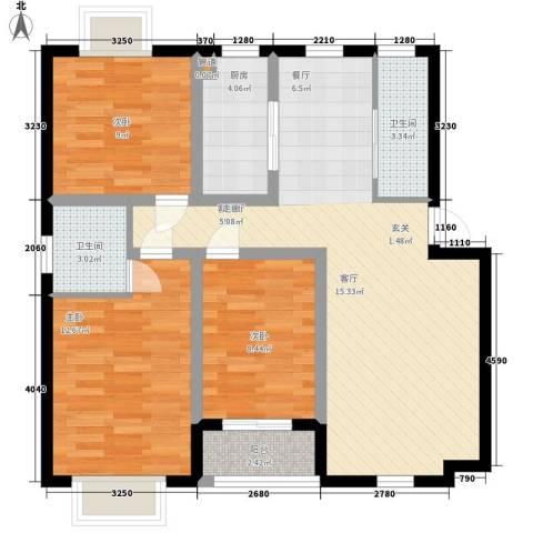 湖南化工医药设计院宿舍3室1厅2卫1厨82.00㎡户型图