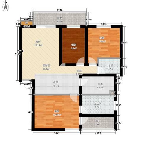 盛世康城3室0厅2卫1厨118.00㎡户型图