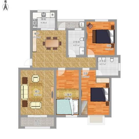 欧美世纪花园3室2厅2卫1厨141.00㎡户型图