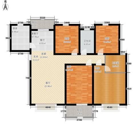 爱地林苑4室1厅2卫1厨159.00㎡户型图