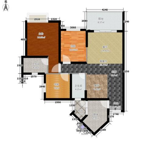 祈福新村活力花园3室1厅2卫1厨110.00㎡户型图