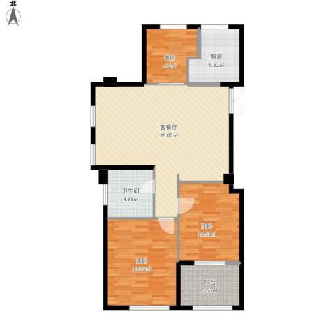 方正荷塘月色3室1厅1卫1厨104.00㎡户型图