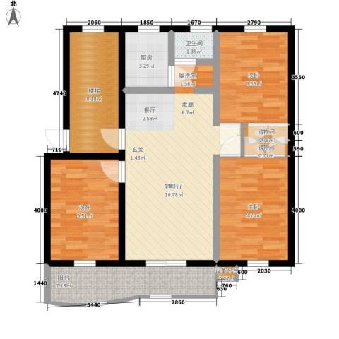 爱地林苑3室1厅1卫1厨106.00㎡户型图
