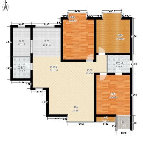 丽都花园3室0厅2卫1厨133.00㎡户型图