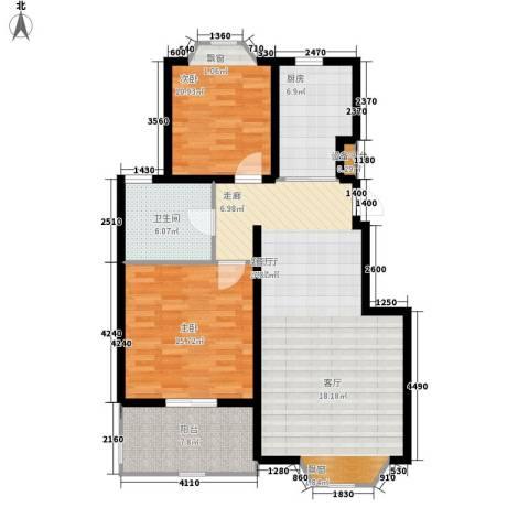 阳光小镇2室1厅1卫1厨92.00㎡户型图