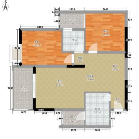 三角花园・星城2室0厅1卫1厨102.00㎡户型图
