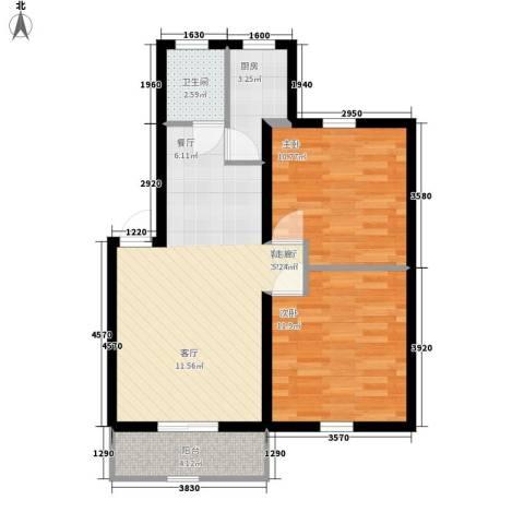 新华园小区2室1厅1卫1厨63.00㎡户型图