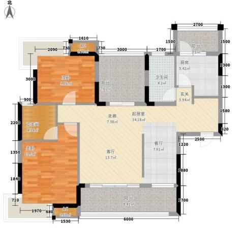 保利花园2室0厅2卫1厨131.00㎡户型图