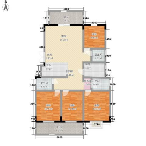 山水霖城4室1厅3卫1厨168.00㎡户型图