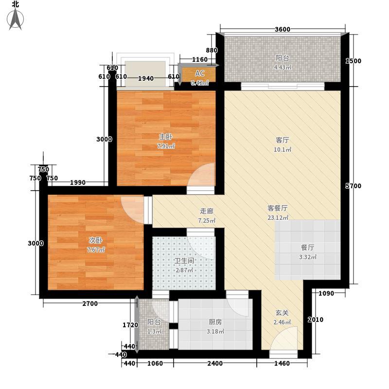 海韵阳光城64.15㎡A-3  户型2室2厅