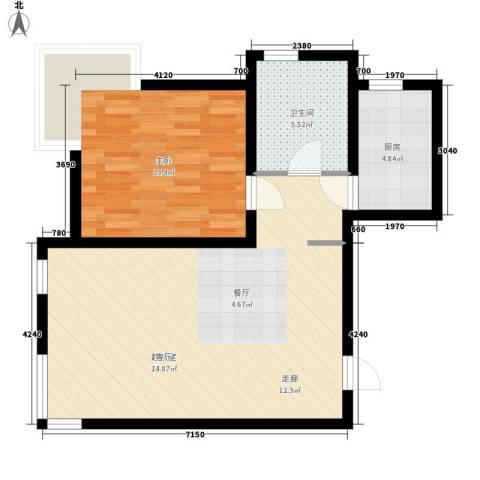 嘉实泊岸1室0厅1卫1厨62.00㎡户型图