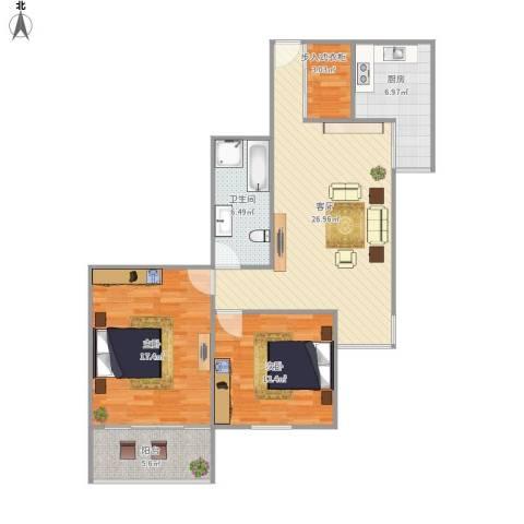 北苑家园绣菊园2室1厅1卫1厨106.00㎡户型图