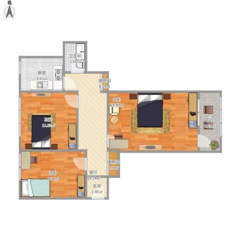 崇文门东大街3室1厅1卫1厨89.00㎡户型图